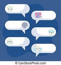 チャット, 青, 泡, 背景, 表現, emojis, 上に