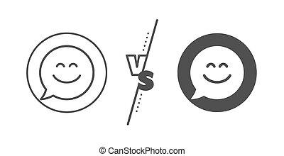 チャット, emoticon, 印。, 微笑, icon., スピーチ, 幸せ, ベクトル, 線, bubble.