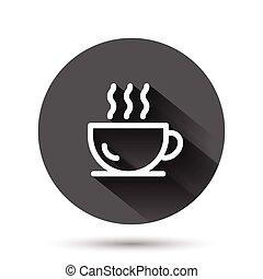 チャマグ, イラスト, コーヒー 飲み物, アイコン, 黒, 影, concept., 長い間, ビジネス, 平ら, ベクトル, 暑い, style., effect., カップ, 円, ラウンド, 背景, ボタン