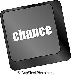 チャンス, ボタン, 上に, コンピュータキーボード, キー