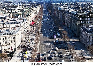 チャンピオン, パリ, des, の上, elysees, 道, 光景