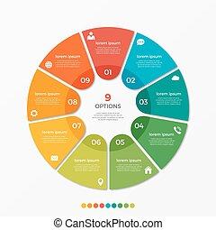 チャート, オプション, presentati, テンプレート, 9, infographic, 円