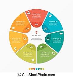 チャート, オプション, presentati, テンプレート, infographic, 円, 7