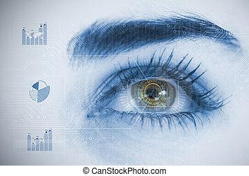 チャート, 分析, 終わり, interfaces, の上, 目, 女