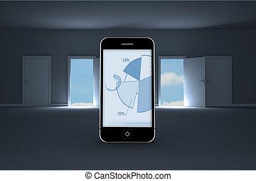 チャート, 合成, スクリーン, パイ, イメージ, smartphone
