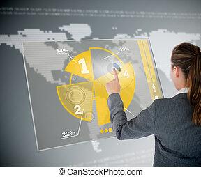 チャート, 黄色, インターフェイス, 服を着せられる, 背景, ビジネス, 井戸, 使うこと, 未来派, 地図, パイ, 女