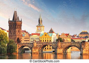 チャールズ 橋, 中に, プラハ, チェコ共和国