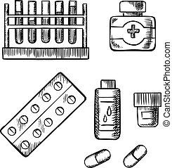 チューブ, スケッチ, びん, 血液検査, 丸薬