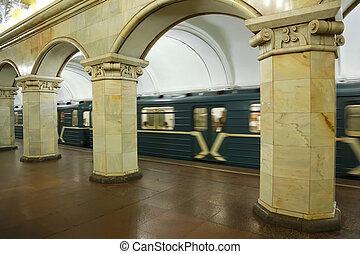 チューブ, 駅, 上に, どちらか, 乗車, 急行, streetcar, ∥で∥, 乗客