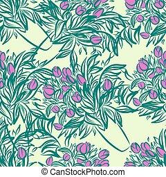 チューリップ, つぼ, 壁紙, seamless, パターン