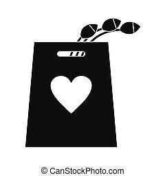 チューリップ, アイコン, 買い物袋