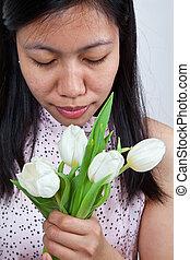 チューリップ, 女の子, 白, アジア人, 肖像画