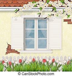 チューリップ, 春, 木製である, ファサド, 古い, 窓, ブランチ
