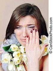 チューリップ, 白, 女, 花, 叫ぶこと