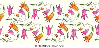 チューリップ, 花, ボーダー, seamless