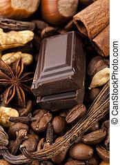 チョコレート, ∥で∥, コーヒー豆, スパイス, そして, ナット