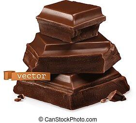 チョコレート, ベクトル, 3d, 小片, 現実的, アイコン