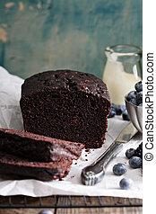 チョコレート, ローフ, 薄く切られる, ケーキ