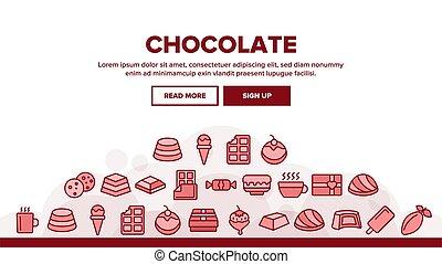 チョコレート, 着陸, ヘッダー, ベクトル