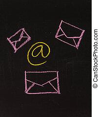 チョーク, シンボル, 図画, 電子メール, 黒板