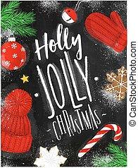 チョーク, ポスター, クリスマス, 西洋ヒイラギ, とても