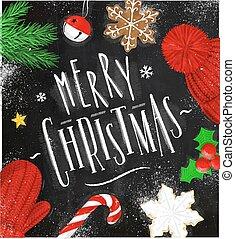 チョーク, ポスター, クリスマス, 陽気