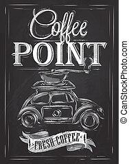 チョーク, ポスター, コーヒー, レトロ, ポイント