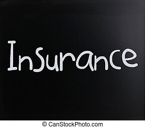 """チョーク, 単語, 白, 黒板, 手書き, """"insurance"""""""