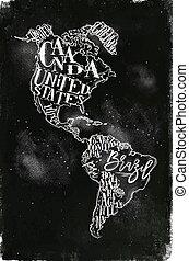 チョーク, 地図, アメリカ, 型