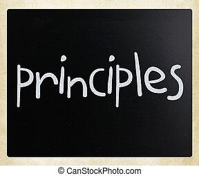 """チョーク, 手書き, """"principles"""", 黒板, 白"""