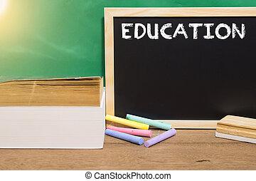 チョーク, 書かれた, 教育, blackboard., 白