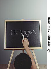 チョーク, 書かれた, 黒, 黒板, 白, 主題