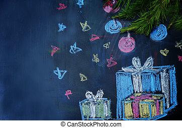チョーク, 木, プレゼント, 背景, 引かれる, クリスマス