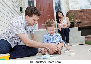 チョーク, 歩道, 父, 図画, 息子