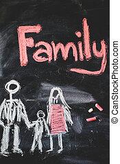 チョーク, 白, blackboard., 家族, 手書き
