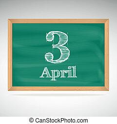 チョーク, 碑文, 3, 4 月, 黒板