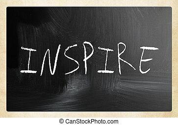 """チョーク, 黒板, 白, 手書き, """"inspire"""""""