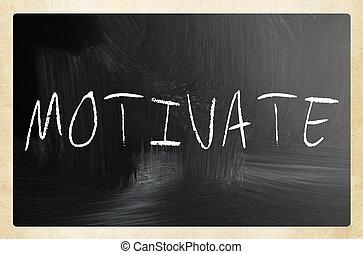 """チョーク, 黒板, 白, 手書き, """"motivate"""""""