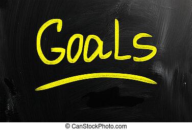 """チョーク, 黒板, 白, """"goals"""", 手書き"""