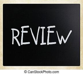 """チョーク, 黒板, 白, """"review"""", 手書き"""
