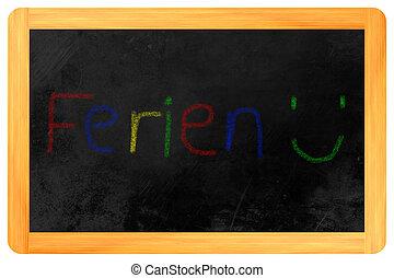 チョーク, 黒板, ferien, 有色人種