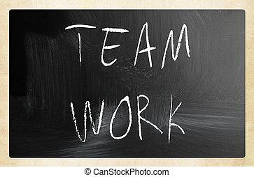 """チョーク, 黒板, """"teamwork"""", 白, 手書き"""