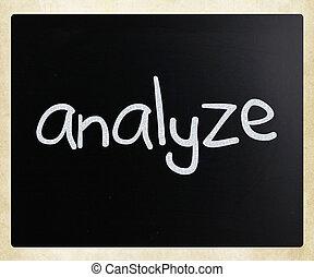 """チョーク, """"analyze"""", 手書き, 黒板, 白"""