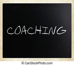 """チョーク, """"coaching"""", 手書き, 黒板, 白"""