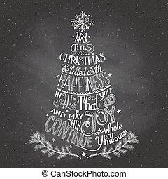 チョーク, hand-lettering, 木, クリスマス