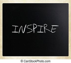 """チョーク, """"inspire"""", 手書き, 黒板, 白"""