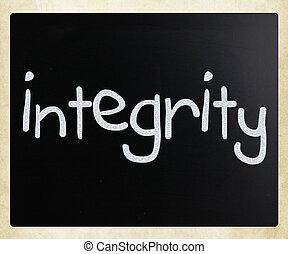 """チョーク, """"integrity"""", 手書き, 黒板, 白"""