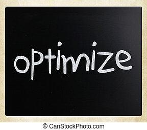 """チョーク, """"optimize"""", 手書き, 黒板, 白"""