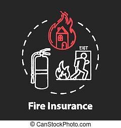 チョーク, rgb, 色, アイコン, 火, 概念, 保険