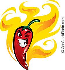 チリペッパー, メキシコ人, 火, 特徴, 顔, 熱い赤, 作成, よこしまである, 非常に, 微笑, 漫画